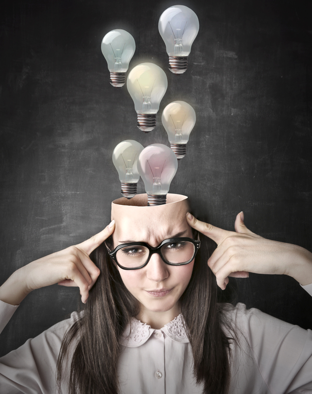 ideas in womans head dreamstime